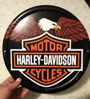 Harley Davidson Genuine Motor Oil Embossed Tin Metal Sign - Bar and Shield Used
