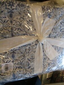 1 Pottery Barn Romee reversible King Sham quilted blue New