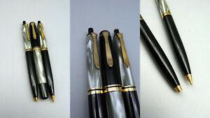 THRS Vintage Schreibset PELIKAN M200 D200 K200 M Feder Grau Marmoriert Sammler
