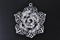 1pcs charm dahlia crystal silver Diy Jewelry Pendant Fit Scarve necklace 7569