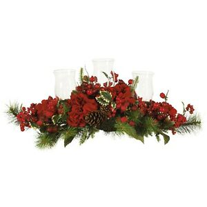 Nearly Natural Artificial Hydrangea Holiday Candelabrum Red Berry and Pine NEW