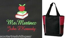 PERSONALIZED Teacher Tote Bag books apple monogram school New red lime royal