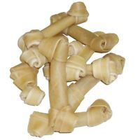 """20 to 80 Rawhide Knotted Bones 16cm (6"""") Hide Dog Chew Knot Natural Treats NEW"""