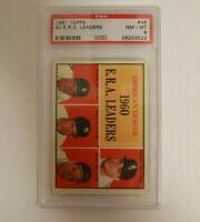 1961 Topps #46 AL ERA Leaders w/ Jim Bunning HOF PSA 8 NM-MT