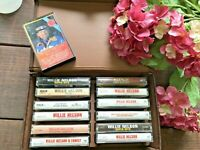 c.1970's-90's VINTAGE WILLIE NELSON CASSETTE LOT OF 12+CASE GREATEST HITS TEXAS