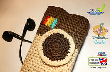 Smartphone hand Knitted Crochet design mobile cover Instagram logo, iPhone etc.
