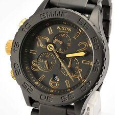 New NIXON Watch Mens 42-20 CHRONO Matte Black Gold  A037-1041 A0371041