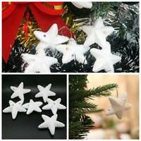 6/30Pcs Christmas Tree Frosted White Star Glitter Hanging Ornaments Decor Gift