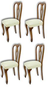 set of quattro chairs walnut 60's vintage modern antiques