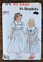 Simplicity 9831 Children's Girl Sailor Dress Pattern Size 4-12 UNCUT Vintage 90s