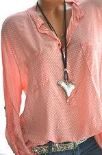 ITALY MODA Tunika Oversize Hemd DOTS Bluse Fischerhemd APRICOT 42 44 46 Neu