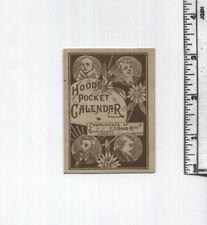 Antique AD Card - Hood's Pocket Calendar - 1881 - Lowell, Mass.