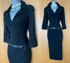 Karen Millen Black Jersey Low Waist Shirt Style Work Evening Pencil Dress size 8