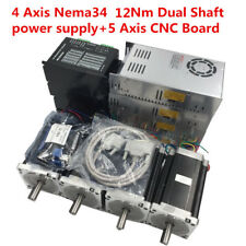 4 Axis 12Nm Nema34 Dual Shaft CNC Stepper Motor Drive Kit+Power Supply+CNC Board