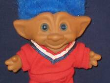 """4"""" ACE TROLL BLUE HAIR & EYES """"HEART"""" JEWEL W/RED 2 PIECE JOGGING OUTFIT T885"""