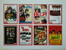 SCARCE UNCUT SHEET - 8 BEATLES RARITIES trade cards. RED 'Movie Posters' series