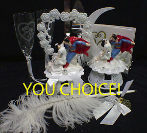 Superman & Lois Lane Wedding Cake Topper  Clark Kent DC super Hero Writer Funny