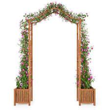 Vidaxl bois D'acacia massif Arche de Jardin avec Jadinière arceau À rosiers