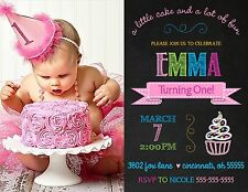 Chalkboard Cupcake Birthday Party Invitation Any Colors Add Photo Any Colors Age