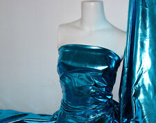 Turquoise 4 way stretch metallic foil spandex