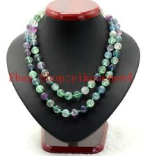 Charming 10mm Multicolor Fluorite Round Gemstone Beads Necklace Long 35'' AAA