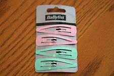 JOB LOT Babyliss10 x 4 Pack of Pale Pink & Pale Blue/Green Snap Slide Hair Clips