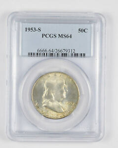 1953-S MS64 Franklin Half Dollar - 90% SILVER - PCGS Graded *856