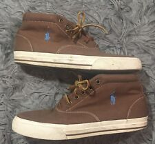 Polo by Ralph Lauren  Mens Zale Chukka Canvas Leather Brown Tan Shoes Sz 7.5D