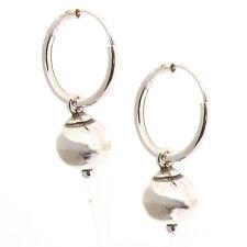 Sterling Silver 14mm Hoop Earrings With Dangling Ball - Indo Bali Hoops Creole