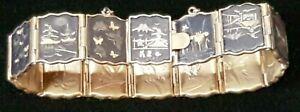 Vintage Damascene Shakudo Japanese Panel Bracelet 24K Gold Inlay 3 Panels Lost