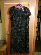 La Boutique Dress With Front Splits ..Lined Size 20 .Circular Pattern On Navy