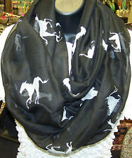 NEW~INFINITY LOOP SCARF - BLACK COLOR SCARF WITH WHITE HORSE MOTIF~NEW!!!