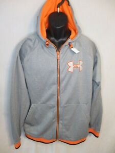 Under Armour Polyester Size L Gray Hooded Long Sleeve Loose Fit Jacket
