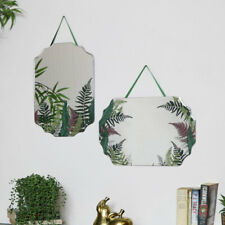 Pair of Fern Printed Frameless Wall Mirrors boho scandi vintage home decor
