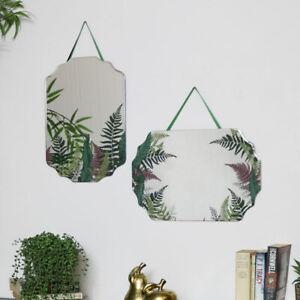 Pair of Fern Printed Frameless Wall Mirrors boho scandi vintage home decor