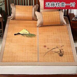 Premium Bamboo bed Mat Summer mat+2 Pillow Case sheet rug floor cool 双面折叠竹凉席加两枕套
