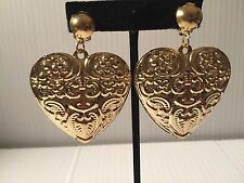"2"" gold hollow heart  light weight clip on earrings non pierced"