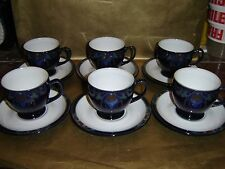 denby baroque set of 6x cups and saucers