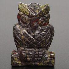 "1.47"" Natural Dragon Blood Jasper Owl Crystal Carved Healing Reiki Figurine"