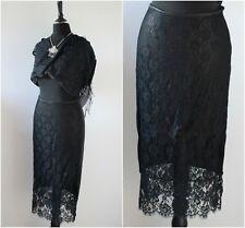 Vintage 1990s Lace Skirt Black Punk Gothic Goth Grunge Midi Wet Look S 8 10