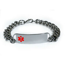Medical Alert ID Bracelet with wide chain (10 mm). Free medical wallet Card!