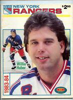 1983 1984 NY Rangers Official Program NHL Hockey Willie Huber Canucks 3/4/84