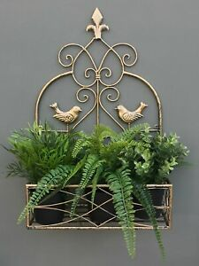 Small Vintage Style Shabby Chic Gold Metal Wall Hanging Storage Shelf Planter