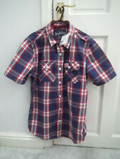 SuperDry Short Sleeve Check Pattern Shirt - Size Large L - Colour: Red Blue