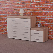 White & Sonoma Oak 4+4 Drawer Chest & 2 Draw Bedside Cabinet Bedroom Furniture 8