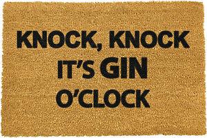 Knock Knock It's Gin O'Clock Coir Doormat Indoor Outdoor