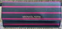 Michael Kors Jet Set Travel Saffiano Leather Wallet Organizer Black Pink Stripe