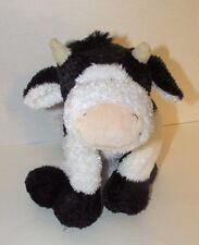 Mary meyer soft black white cow floppy bean bag plush black hooves peach nose