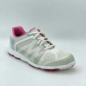 FootJoy Womens Sport SL 98027 White Pink Spikeless Golf Shoes Low Top Size 7.5
