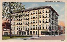 Illinois postcard Rock Island Harper House hotel liquor store